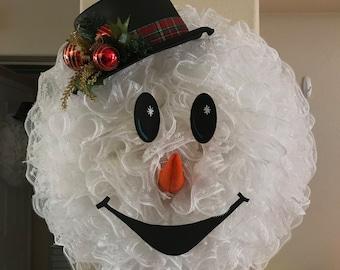 Snowman wreath, christmas wreath, holiday wreath, snowball mesh wreath, holiday décor, winter wreath