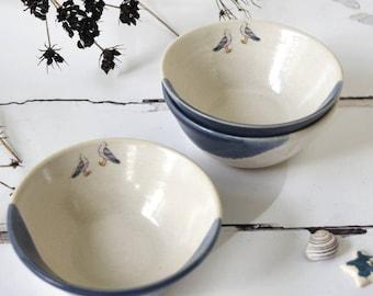 Coast inspired handmade bowl, seagull bowl, gull bowl, breakfast bowl, blue and white ceramic bowl, handmade pottery, illustrated ceramics