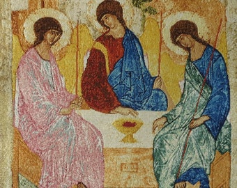 """Handmade Petit Point Gobelin """"Trinity"""" (after icon Andrei Rublev)"""