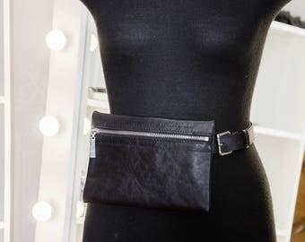 Fanny pack   belted bag   waist belted bag   belt pouch wallet   leather waist bag   small leather bag   waist bag  