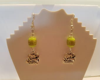 Green Beaded Earings With Stainless Steel Cheer Charm