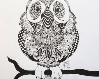 Zentangle Owl Art Print