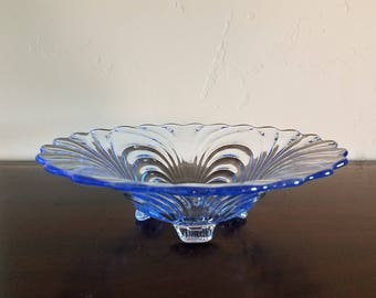 Blue Cambridge Caprice Footed Bowl