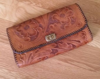 Tooled Leather Clutch Purse