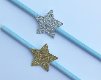 12 Glitter Star Party Straws Gold Star Straws Silver Star Straws Baby Shower Straws Bridal Shower Straws Wedding Straws Light Blue
