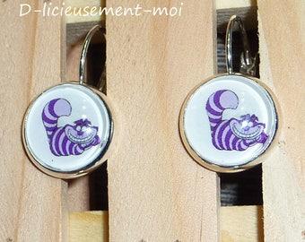 Earrings sleepers silver metal cap 12 mm glass cheshire cat alice in Wonderland disney