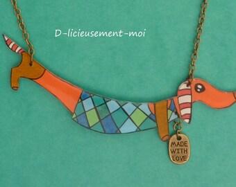 Bronze metal chain necklace Choker vintage dog basset sausage kawaii crazy shrink plastic hand painted