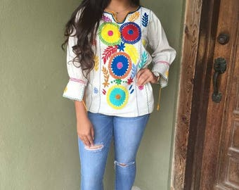 Mexican Blouse, Manta Rococo Hand Embroidered Blouse
