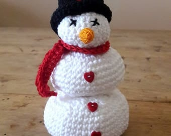 Hand crocheted snowman