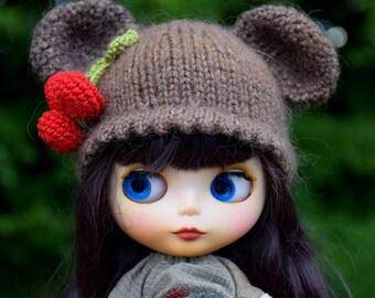 Blythe Hat, Blythe Bear Hat, Blythe Сherry Hat, Blythe Outfit,  Blythe Doll Clothes,  Blythe berry Hat