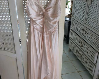 Vintage Silk and Lace Nightgown, Long, light Pink, Size M, Adagio, Neiman Marcus