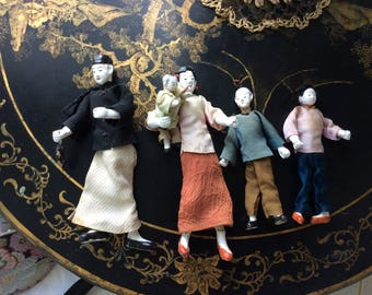 Antique Early 1900's Chinese Family Doll Set, Rare!