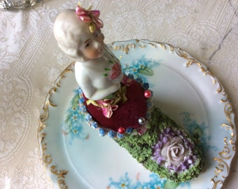 Vintage Velvet Pin Cushion,  Porcelain Half Doll and Elfinware Shoe, So.....Lovely!!