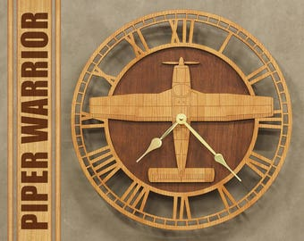 "Piper PA-28 Warrior 14"" Wooden Wall Clock, Aircraft Gift, Airplane Gift, Aviation Gift, Pilot Gift, Wood Clock,"