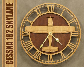 "Cessna 182 Skylane 14"" Wooden Wall Clock, Aircraft Gift, Airplane Gift, Aviation Gift, Pilot Gift, Wood Clock"