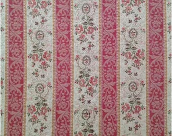 Antique French Pink Floral Lisere Cotton Brocade Fabric