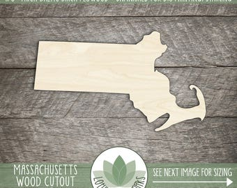 Massachusetts State Wood Cut Shape Shape, Unfinished Wood Massachusetts Laser Cut Shape, DIY Craft Supply, Many Size Options