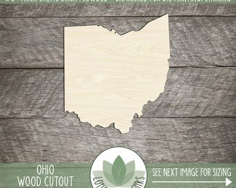 Wood Ohio State Laser Cut Shape, DIY Craft Supply, Home Decor Project, Many Size Options, USA Wood State Shapes