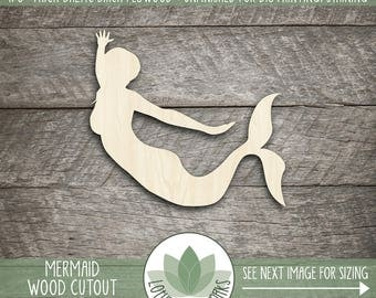 Mermaid Shape, Unfinished Wood Mermaid Laser Cut Shape, DIY Craft Supply, Many Size Options