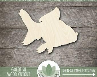 Goldfish Wood Cut Shape, Unfinished Wood Goldfish Laser Cut Shape, DIY Craft Supply, Many Size Options