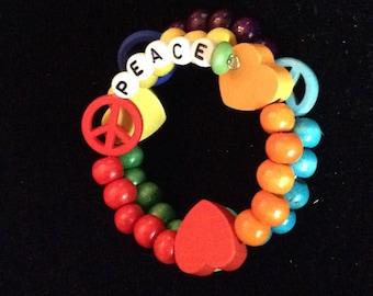 Peace Love Rainbows Hearts bracelet   (Child's/Small)  (#BRAC7)