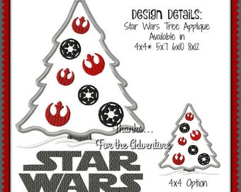 Star Wars Galactic Empire Rebel Alliance Christmas Tree Ornament Digital Embroidery Machine Applique Design File 4x4 5x7 6x10 8x12 Bonus 8x9