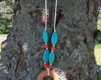Strawberry and Aqua Teething Necklace