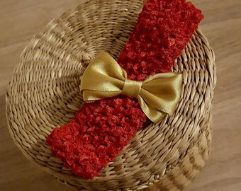 """sale 2.20 instead of 2.70.Bandeau handmade """"Ruby"""" Red Hook with gold bow perfect for baby and children up to 6 years"""