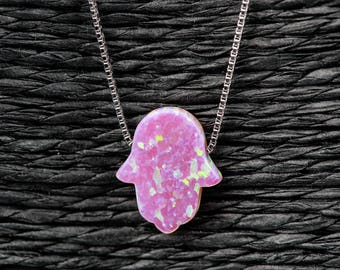 """Pink Opal Hamsa Hand Necklace with 925 Sterling Silver Chain - 18"""" + Free Gift Box"""