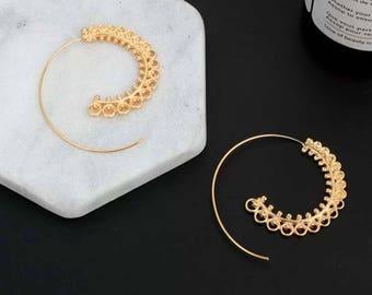 Golden Boho Earrings / Spiral Ethnic Gipsy Hoops