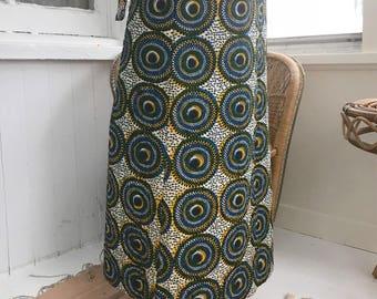 70's African Wax Print Maxi Skirt, 100% Cotton Quilted With Elastic Waist S/M