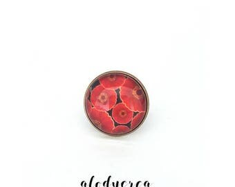 ring adjustable poppy ring glass cabochon ring, poppy, gift for her, fancy ring, 18 mm cabochon