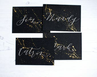 Black Place Cards with Gold Splashes / White Ink Calligraphy