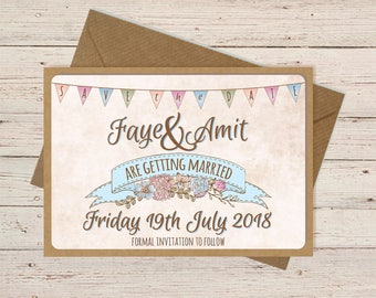 Save the Date cards | Hand finished | Personalised | Vintage Bunting| Shabby Chic| Rustic | With Envelopes
