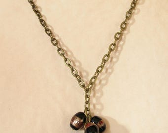 Black and bronze long necklace vintage