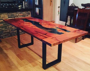 Stunning Live edge river coffee or dining table. Hand cut glass inlay