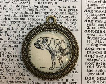 Handmade Vintage Dictionary Dog Necklace - Mastiff
