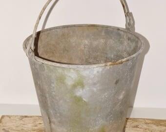 "Gray galvanized metal bucket,handle,porch decor,outdoor planter,firewood storage,#1314,patina,10.5"" high,diary farm pail,garden bucket,decor"