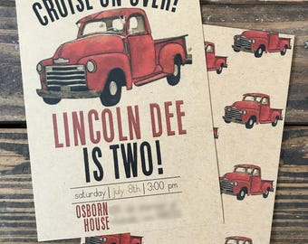 CRUISE OVER | Vintage Truck Birthday Invitation | Vintage Truck Themed Birthday | Vintage Truck Invitation | Vintage Truck Birthday | Truck
