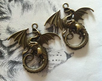 Set of 2 dragon charms bronze