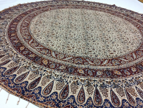"""Traditional round tablecloth 70"""" floral table top, hand block printed with tassels, tablecloth, round tablecloth"""