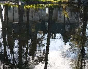 Photograph of pond. Reflection of water on a pond. Poetry. Evening decor. Fine art photography.