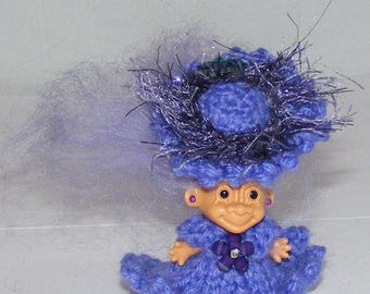 "1.5"" Russ Troll Doll, Purple Icelandic Hair, Purple Knit Dress, Panties, Hat"