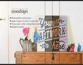 Mockup clean interior photo - mockup pallet sign - Present art - Styled photorealistic psd smart object - mock up empty woodsign