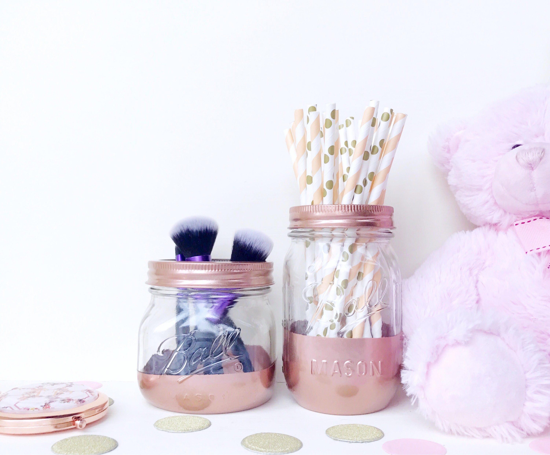 rose gold makeup brush holder copper vase rose mason jar. Black Bedroom Furniture Sets. Home Design Ideas