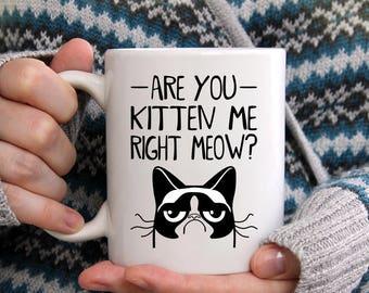 Are you kitten me coffee mug, cat lover mug, funny quote mug, Cat lover gift, funny quote, Coffee Mug with Quote, Gift for Her, Gift for Him