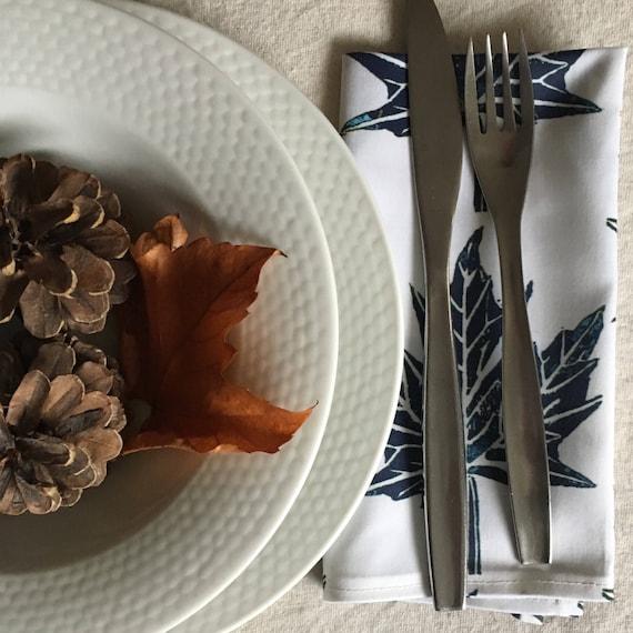 Organic cloth napkins set navy blue and white cotton dinner napkins maple leaf pattern blue table decor housewarming navy dining room decor