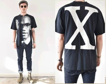 Vintage 1992 Rare Malcolm X Top Heavy Large Graphic Tshirt
