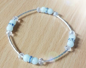 Lovely delicate Amazonite, Austrian crystal, silver plated bracelet,