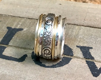 Wide Band Sterling Spinner/Fidget Ring - options available!